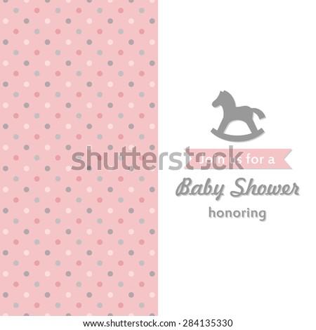 baby girl shower card. vector illustration - stock vector