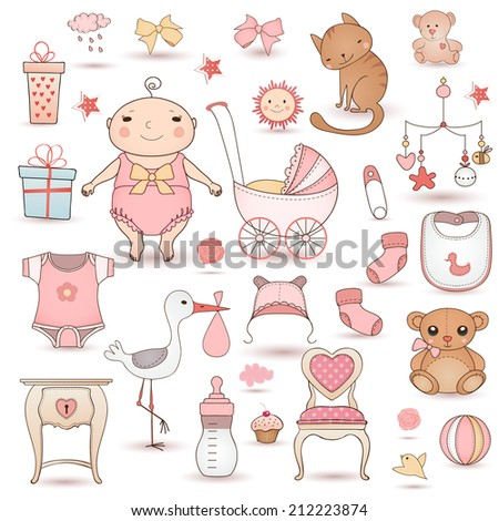 Baby girl shower.  Cute paper labels. - stock vector