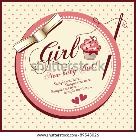 Baby girl shower invitation card - stock vector