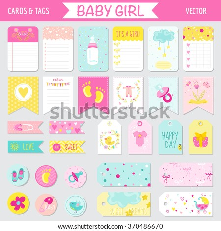 Baby Girl Shower or Arrival Set - Tags, Banners, Labels, Cards - in vector - stock vector