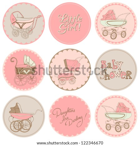 Baby Girl Shower Party Set - for your design and scrapbook in vector - stock vector