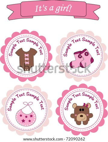 Baby girl stickers - stock vector