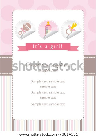 Baby girl stickers collection on invitation - stock vector