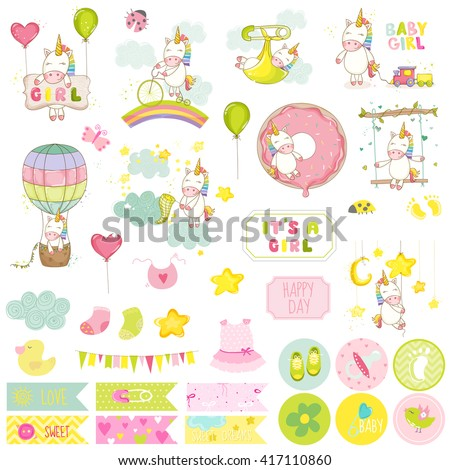 Baby Girl Unicorn Scrapbook Set. Vector Scrapbooking. Decorative Elements. Baby Tags. Baby Labels. Stickers. Notes. - stock vector