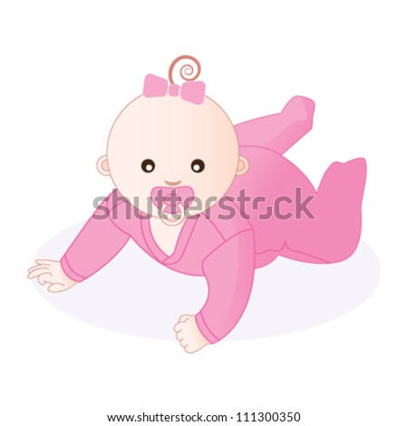 Baby girl. Vector illustration. - stock vector