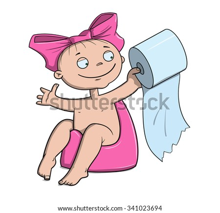 Baby girl with a toilet roll in hands craps in a pink pot - stock vector
