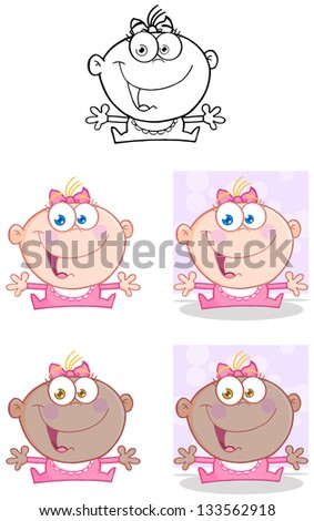 Baby Girl With Open Arms.Vector Collection - stock vector