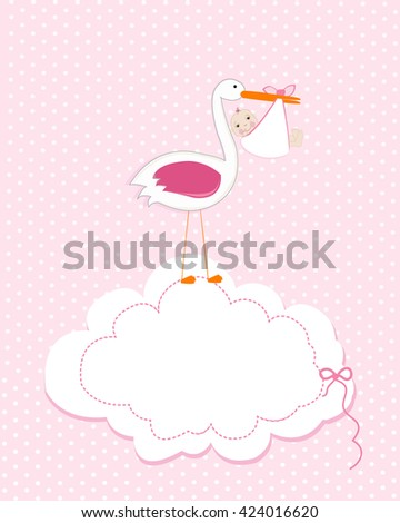 Baby girl with stork. Baby arrival greeting card. Baby shower invitation newborn baby illustration