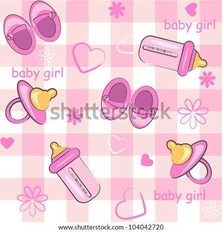 baby girl wrapping and background. icon seamless texture - stock vector