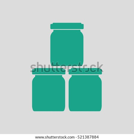 Baby glass jars icon. Gray background with green. Vector illustration.