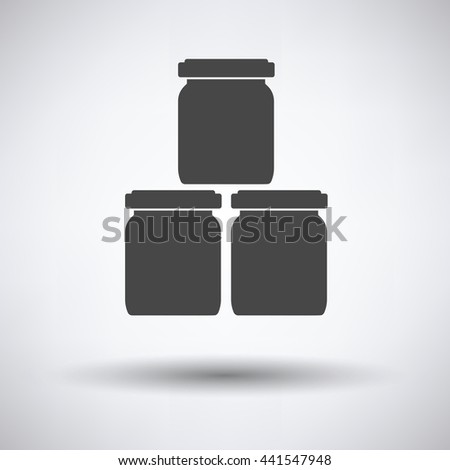 Baby glass jars icon on gray background, round shadow. Vector illustration. - stock vector