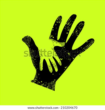 baby hand in adult hand. Vector - stock vector