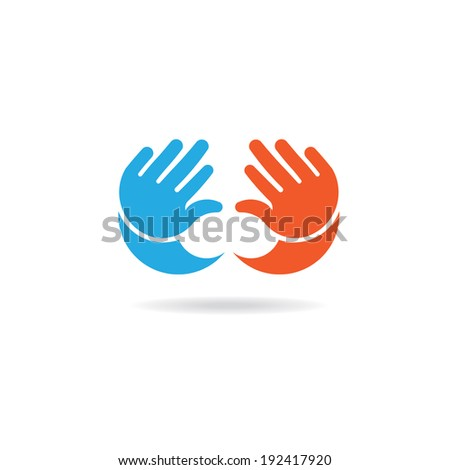 Baby hands girl and boy image. Concept of infant, children, little kid. Vector icon