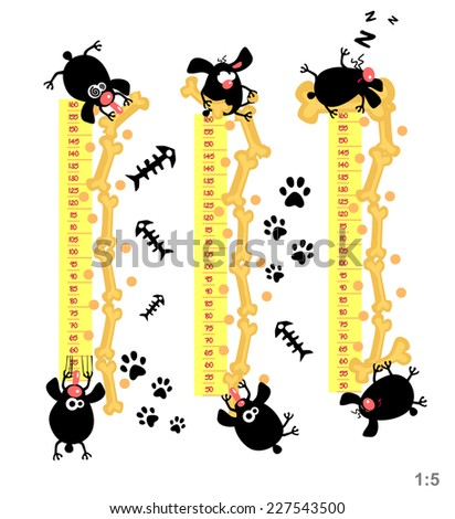 Baby height measure with funny dogs (scale 1:5) - stock vector