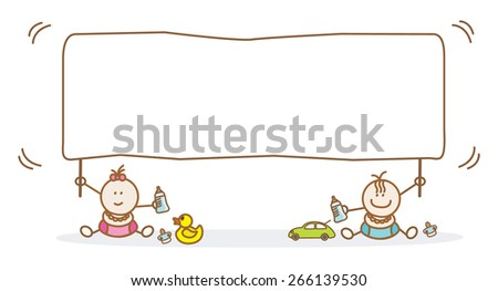 baby holding banner - stock vector