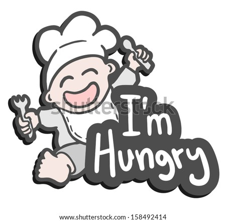 Baby hungry - stock vector