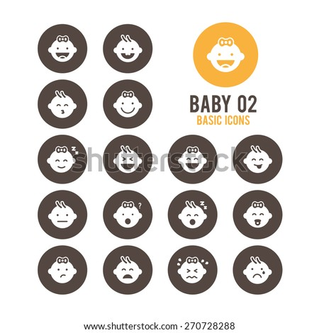 Baby icons. Baby's emotional reaction. Vector illustration. - stock vector