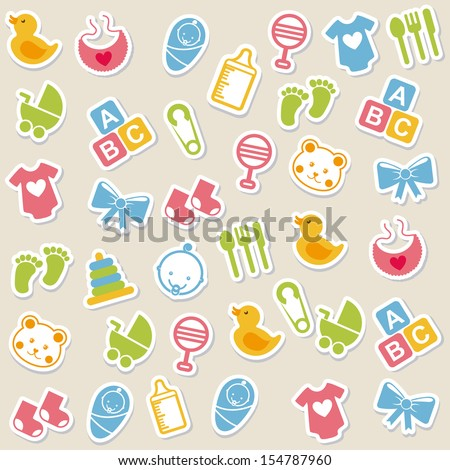 baby icons over beige background vector illustration - stock vector