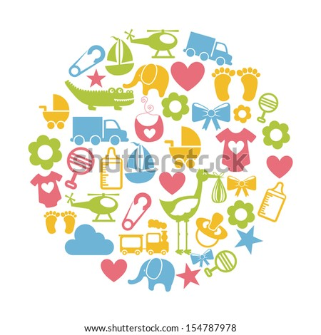 baby icons over white background vector illustration - stock vector