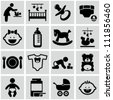 Baby icons set. - stock photo