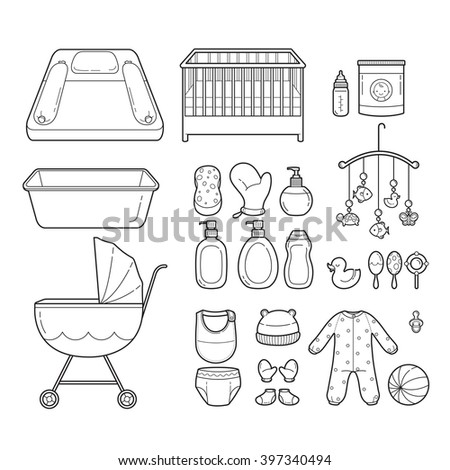 Baby Icons Set, Outline Icons, Baby, Icons, Accessories, Objects, Infant - stock vector