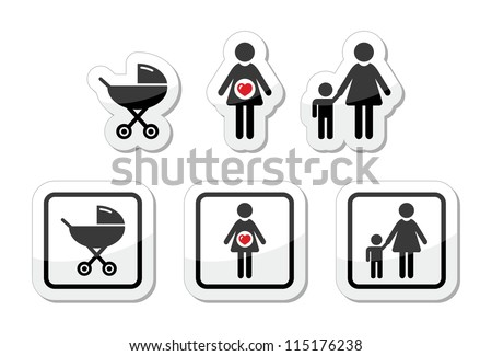 Baby icons set - parm, pregnancy, mother - stock vector