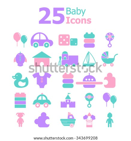 Baby icons set.Vector - stock vector