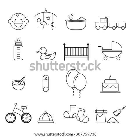 baby icons set vector design - stock vector