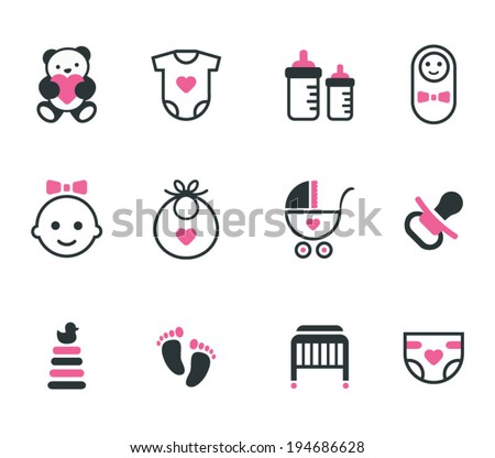 Baby icons. Vector set. - stock vector