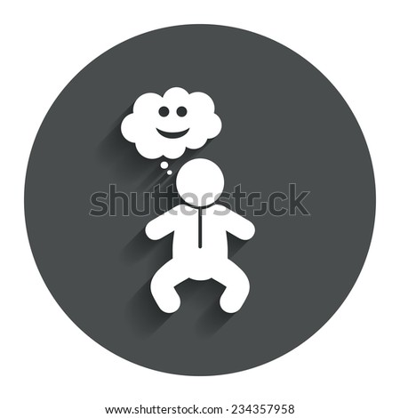 Baby infant happy think sign icon. Toddler boy in pajamas or crawlers body symbol. Gray flat button with shadow. Modern UI website navigation. Vector - stock vector