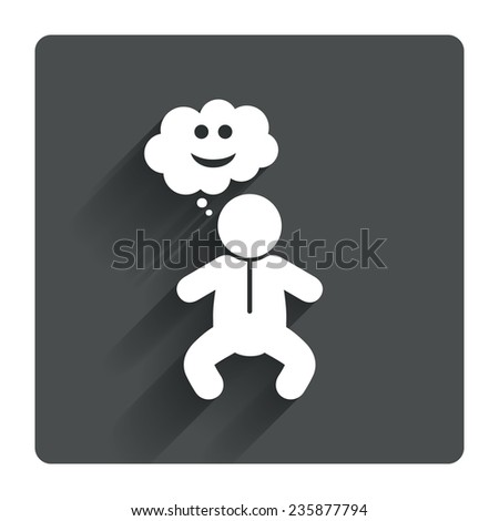 Baby infant happy think sign icon. Toddler boy in pajamas or crawlers body symbol. Gray flat square button with shadow. Modern UI website navigation. Vector - stock vector