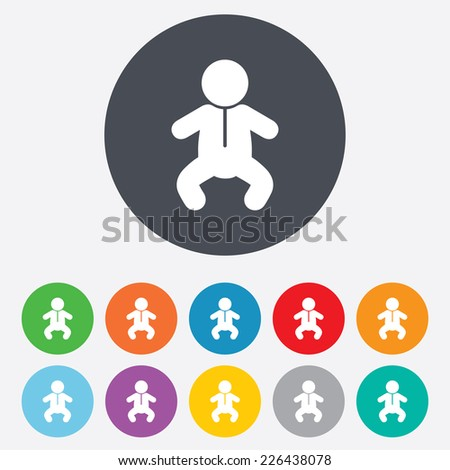 Baby infant sign icon. Toddler boy in pajamas or crawlers body symbol. Child WC toilet. Round colourful 11 buttons. Vector - stock vector