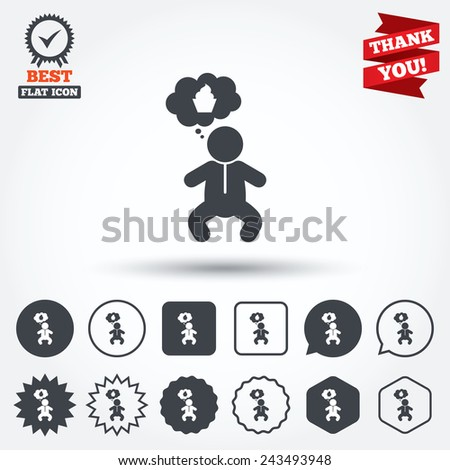 Baby infant think about food sign icon. Toddler boy in pajamas or crawlers body symbol. Circle, star, speech bubble and square buttons. Award medal with check mark. Thank you ribbon. Vector - stock vector