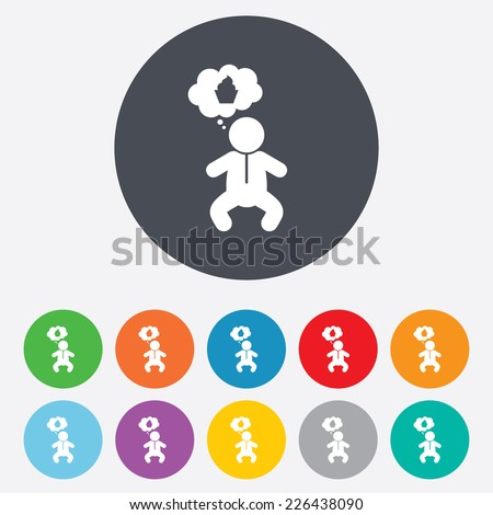 Baby infant think about food sign icon. Toddler boy in pajamas or crawlers body symbol. Round colourful 11 buttons. Vector - stock vector