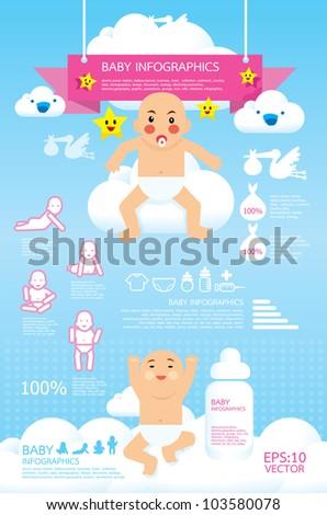 baby infographic vector - stock vector