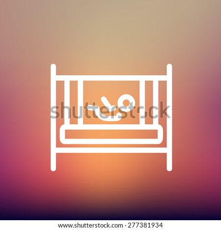 Baby inside the crib icon thin line for web and mobile, modern minimalistic flat design. Vector white icon on gradient mesh background. - stock vector