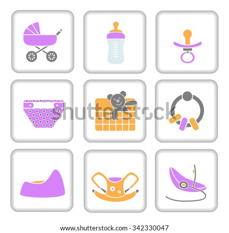 Baby items icon set