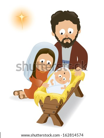 Baby Jesus, Mary and Joseph - stock vector