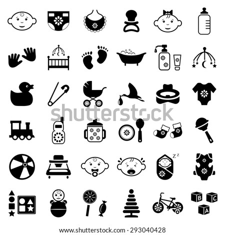 Baby,kids and toys vector icon set - stock vector