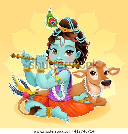 Baby Krishna with sacred cow. Vector cartoon illustration. - stock vector