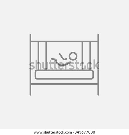 Baby laying in the crib line icon for web, mobile and infographics. Vector dark grey icon isolated on light grey background. - stock vector