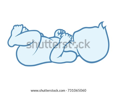 Baby lies on the back pose, child development, growth stages. First Year. Vector icon silhouette illustration.