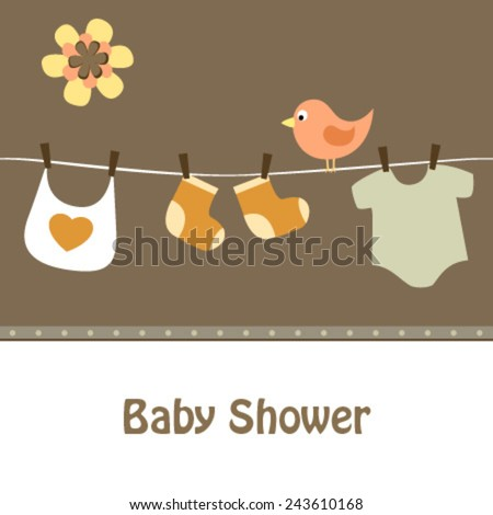 baby line and bird brown card - stock vector