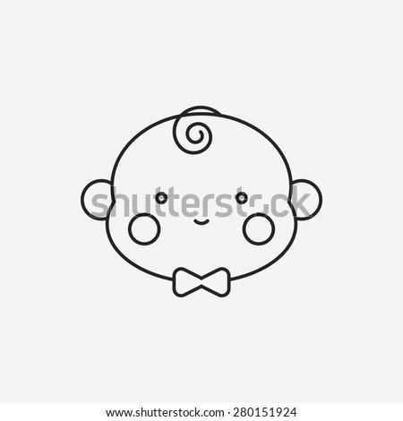baby line icon - stock vector