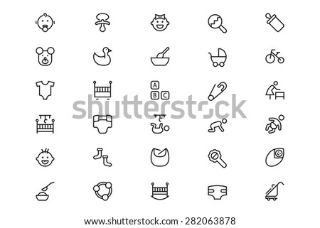 Baby Line Vector Icons 1 - stock vector