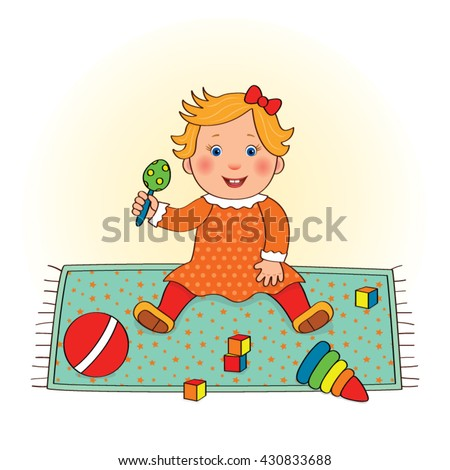 Baby little girl sitting pretty on a mat and holds in his hand rattle beside toys, cartoon vector - stock vector