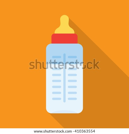 Baby milk bottle icon with long shadow - stock vector