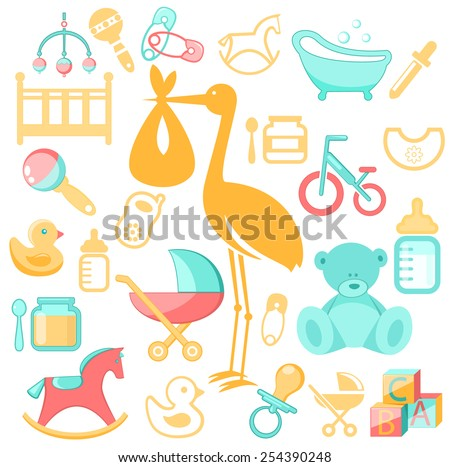 Baby, newborn  accessories - stock vector