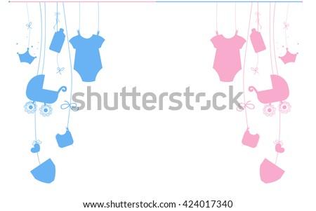 Baby newborn hanging baby boy baby girl symbols illustration - stock vector