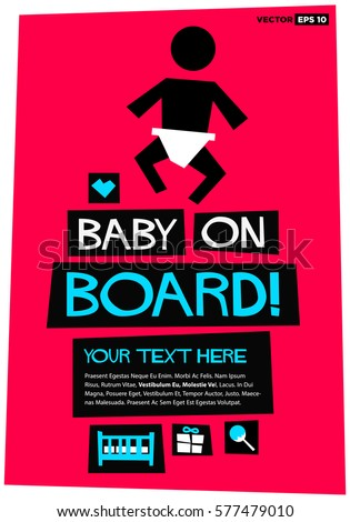 Baby On Board Flat Style Vector Stock Vector (Royalty Free ...